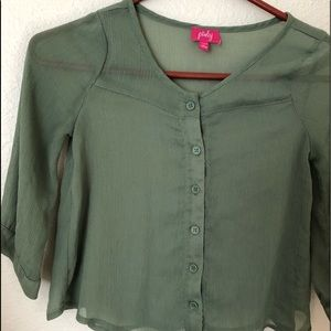 Pinky Sheer 3/4 length Button Up Overblouse